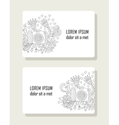 Set of cards with hand drawn floral elements and vector