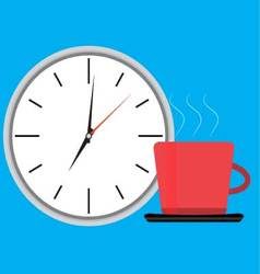 Wake up clock and cup of coffee vector image