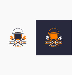 camping and outdoor adventure retro logo the vector image