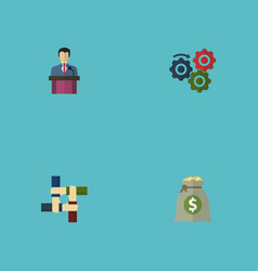 flat icons support businessman income and other vector image