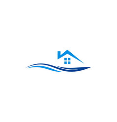 house beach resort logo vector image vector image