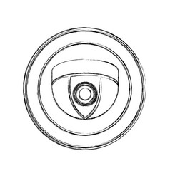 Monochrome sketch of video security camera in vector