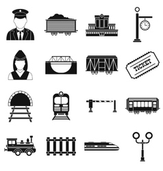 Railroad black simple icons set vector image vector image