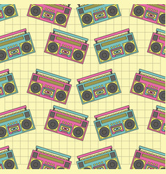 seamless pattern tape recorder 90s device music vector image