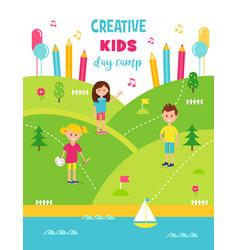 Summer creative art camp for kids poster template vector