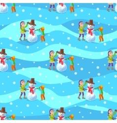 Children make a snowman winter vector image