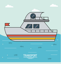 colorful poster of transport with boat over water vector image