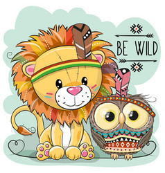 cute cartoon tribal lion and owl vector image