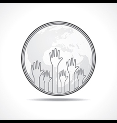 hand background with earth vector image vector image