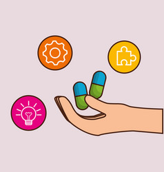 Hand with medicine pills icon vector