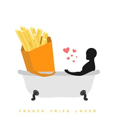 Lover french fries I love food Fastfood and man in vector image vector image