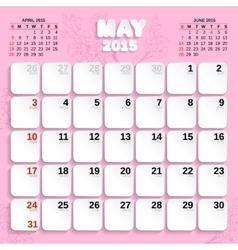 May Month Calendar 2015 vector image vector image