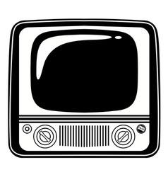Retro black and white vintage tv on white vector