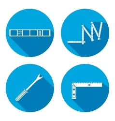 Building tool icon set Rule clinometer angle vector image vector image