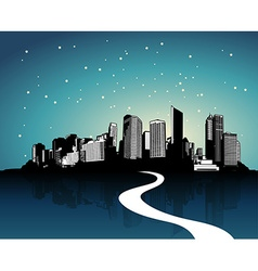 City with reflection art vector image vector image