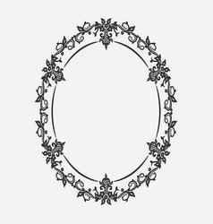 oval vintage frame floral ornament vector image