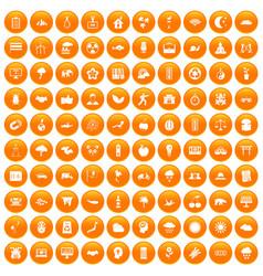 100 harmony icons set orange vector image