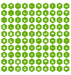 100 winter icons hexagon green vector