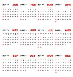 2017 calendar template for business plan vector