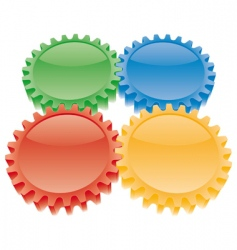 3d colorful gears set vector image
