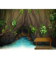 A cave a water and a wooden shade vector