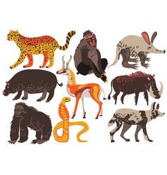 african animals set hippopotamus cheetah monkey vector image