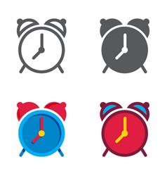 alarm clock designed icons set vector image