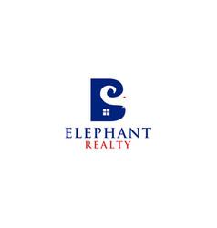 B elephant realty logo design vector