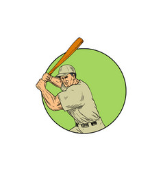 baseball player batting stance circle drawing vector image