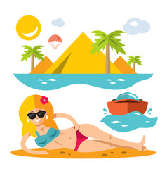 beach girl flat style colorful cartoon vector image
