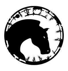 black stamp in the form of a horse a vector illust vector image