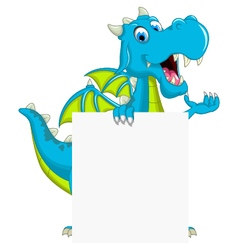 Blue dragon cartoon holding blank sign vector