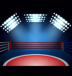 boxing ring spotlights composition vector image