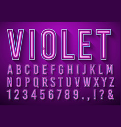 bright neon letters violet glowing font light vector image