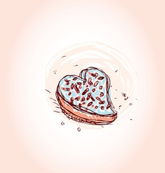 Cake in the shape of heart Hand drawn sketch on vector image