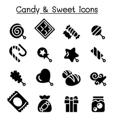 candy sweet icon set vector image
