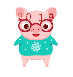 cartoon pig symbol of chinese 2019 new year in vector image