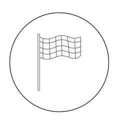 Checkered flag icon outline single sport icon vector