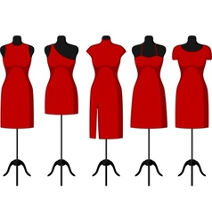 Cocktail and Evening Dresses on mannequin vector image
