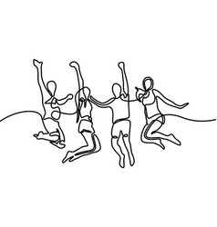 continuous line drawing group boys and girls vector image