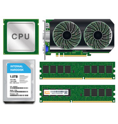 cpu graphic card harddisk ram on white background vector image