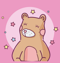 Cute animal bear cartoon vector