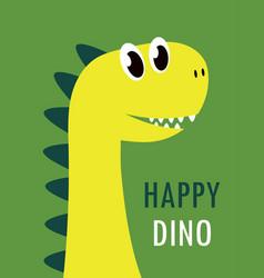 cute cartoon happy dinosaur card vector image