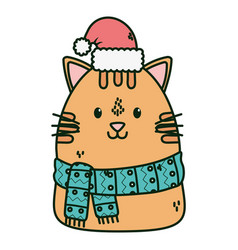 Cute cat with scarf hat celebration merry vector