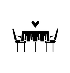 date in the restaurant black icon sign on vector image