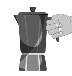 Delicious coffee kettle drink vector
