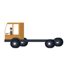 Delivery truck vehicle with driver vector
