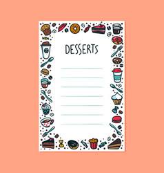 desserts menu template colorful doodle style vector image