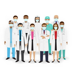 Doctors nurses and paramedics icons group of vector