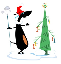Dog keeps Christmas and New Year day vector image